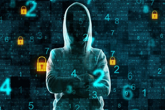 Hacker standing on abstract binary code background with padlocks. Malware and hacking. Double exposure